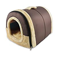 ANPI 2 in 1 Dog House Cat Igloo, Foldable Cat Bed Cave Non-Slip Soft Warm Pet Rabbit House Sofa with Detachable Cushion, 3 Sizes, Multicolour (M, Brown)