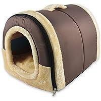 ANPI 2 en 1 Casa y Sofá para Mascotas, Marron Lavable a Máquina Casa Nido Cueva Cama de Perro Gato Puppy Conejo Mascota Antideslizante Plegable Suave Calentar Con Cojín Extraíble, Medio