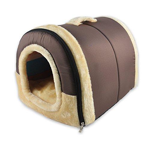 ANPI 2 In 1 Haustier Haus und Sofa, Maschinenwaschbar Braun Muster Anti-Rutsch Faltbare Weich Warm Hund Katze Hündchen Kaninchen Haustier Nest Höhle Bett Haus mit Abnehmbarem Kissen, Medium - Höhle Katze Bett