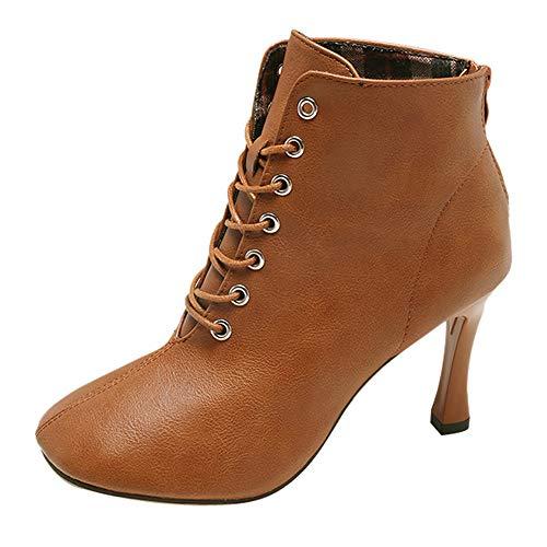 MYMYG Damen Chelsea Boots Frauen High Heel Schuhe Martain Boot Leder Lace-Up einfarbig quadratische Schuhe Ankle Boots Freizeitschuhe Winterstiefel Ankle Boots mit Halbhohe Blockabsatz