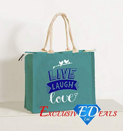 Jute Einkaufstasche Sackleinen Large Eco Wiederverwendbare Geschenk Tote Lunch Handtasche-34cm (H) X 41cm (W) (Live Laugh Love) -