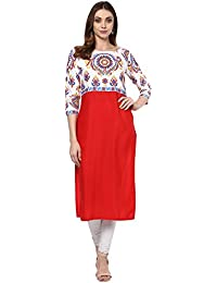 ZIYAA Women's Red Color Printed Straight Crepe Kurta