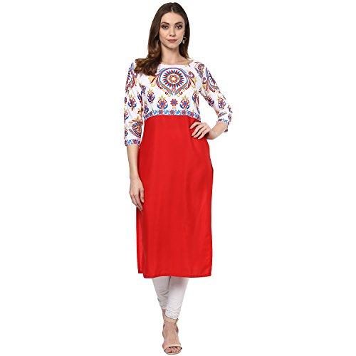 ZIYAA Women's Red Color Printed Straight Crepe Kurta (ZIKUCR1579_Red_S)