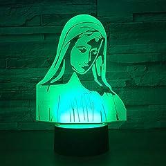 Idea Regalo - 3D Illusione Led Lampada di Illuminazione Maria Lampada da Tavolo 7 Colori con Acrilico Caricatore USB per Comodino Bambini Cameretta Casa Festa Decorazione