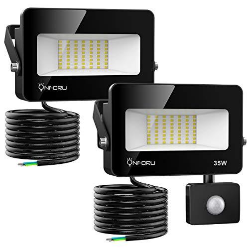 Onforu 2er 35W LED Strahler mit Bewegungsmelder 3000LM, Superhell LED Außenstrahler Fluter Flutlicht, 5000K Tageslichtweiß IP66 Wasserfest, Ideale Außenbeleuchtung für Garten, Garage, Hof ect.