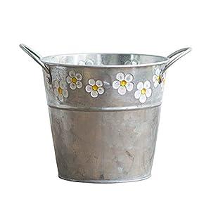 Lionina Blumen Eimer, Vintage Metall Eisen Blumen Eimer, Retro Handwerk Blumen Eimer Display Stand, Vasen Topf Container Gießkanne Hausgarten hängenden Dekor