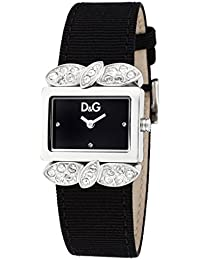 D&G Dolce&Gabbana-Damen-Armbanduhr 800 2H SS END PIECE WITH STONES BLACK DIAL DW0493