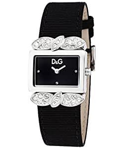 D&G Ladies 800 Quartz Watch DW0493 With Black Rectangular Analogue DialAnd Black Fabric Strap