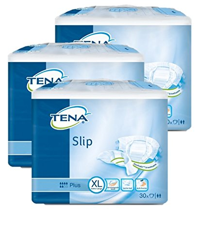 TENA Slip Plus Extra-Large (XL) - Inkontinenz-Windel Doppelinkontinenz (1 Karton= 3 x 30 = 90 Stück) - Plus-slip