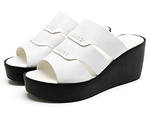 Sommer Hang mit dicker Kruste Fischkopf Schuhe beiläufige Slip große Yards Studenten lose Kuchen mit Sandalen White