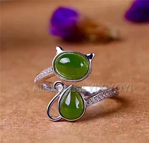 ShAwng Hermosa 925 Plata esterlina Verde HeTian Jade