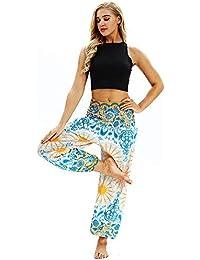 VJGOAL Unisex Moda Casual Estilo Boho impresión Pantalones de Yoga Festival Hippy Bata Suelta Pantalones de