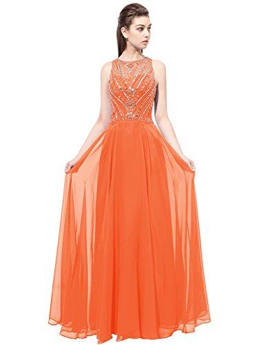 Dresstells Robe de cérémonie Robe de bal en mousseline emperlée longueur ras du sol Orange