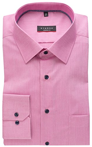 Eterna Long Sleeve Shirt Modern Fit Chambray Uni Rosa