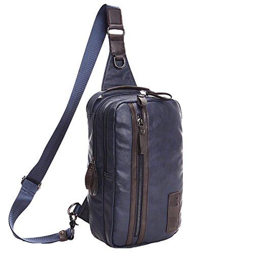 Unisex Beiläufige Große Kapazitäts-Unsymmetrie Gym Rucksack Brusttaschen Körpertasche Blau Blue