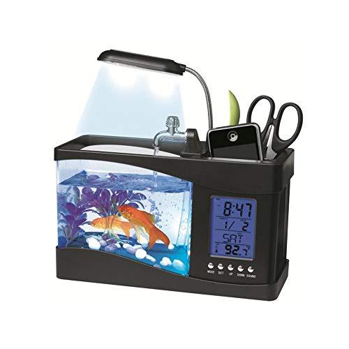Ceepko Aquarium, kreatives USB-Mini-Aquarium, umweltfreundlich, mit Tischlampe, LED-Unterwasser-Licht, zirkulierendes Wassersystem, elektronischer Wecker (Anzeige von Zeit, Datum, Temperatur) Anzeige-licht