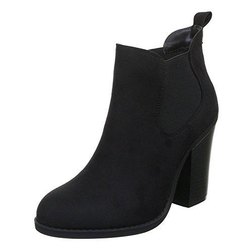 Ital-Design Damen Schuhe, F71-, Stiefeletten, Ankle Boots IN Used Optik, Synthetik in Hochwertiger Wildlederoptik, Schwarz, Gr 37