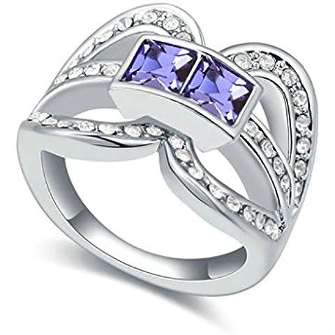 AieniD Anelli Donna Matrimonio Placcato Oro Cavo Piazza Principessa Cut Zirconia Cubica Fidanzamento Anelli per