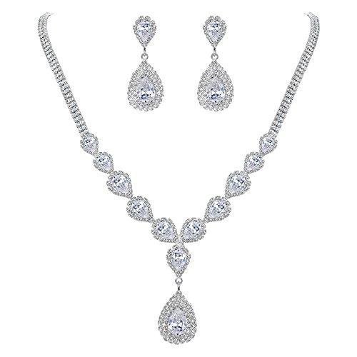 Clearine Damen Hochzeit Schmuck-Set Braut Kristall CZ Teardrop Unendlichkeit Design Y-Halskette baumeln Ohrringe Schmuck Set Klar Silber-Ton