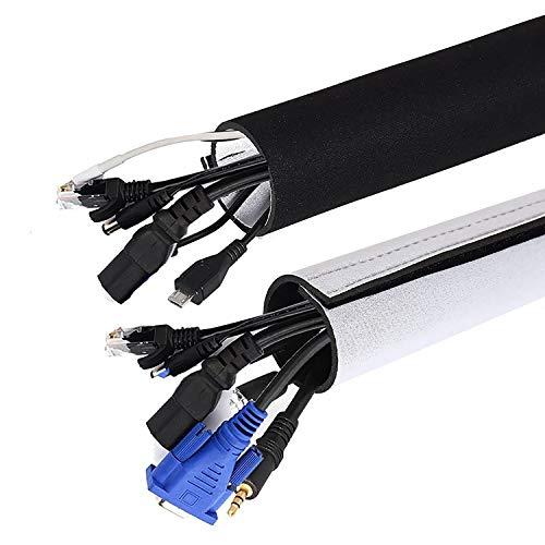 Universal Neopren Klettverschluss Kabelschlauch 2x1.5 M Einstellbare Flexible Cord Organizer Kabelkanal Kabelhülle Schutz-System für DES TV, Computer, Heimkino (150x13,5cm,150x10,2cm) -