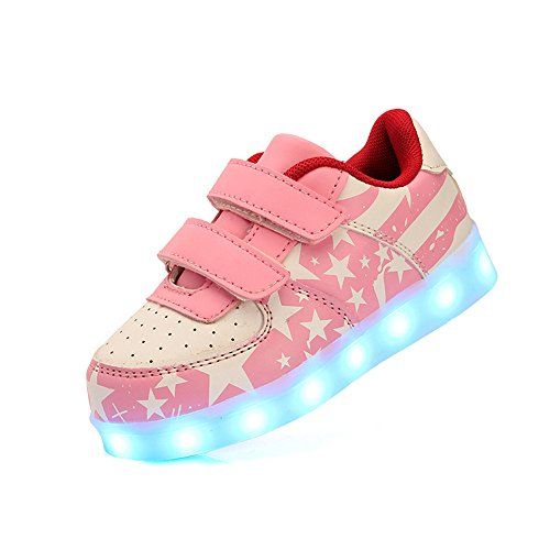 DoGeek - Chaussure Basket Lumineuse - Homme Femme - 7 Led Colorful Lumière Chaussures -Usb Rechargeable Rose