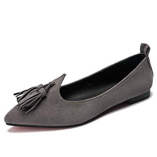 AalarDom Damen Spitz Zehe Ohne Absatz Mattglasbirne Rein Pumps Schuhe mit Fransig Grau