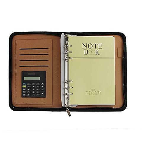 Liying Neu Notizbuch Konferenzmappe Ringbuchmappe Schreibmappe mit Ringbuch, Taschenrechner, Reißverschluss A5 Blau