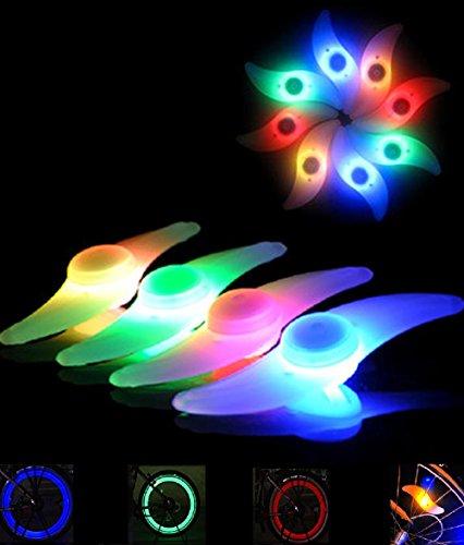 LED Speichen-Licht Fahrrad Reifen-Beleuchtung Zubehör für Kinder-Rad wasserbeständig Mehrfarbig Blau Rot Grün Multicolor Orange (Rot, 4 Stück) (Kind-fahrrad-reifen)