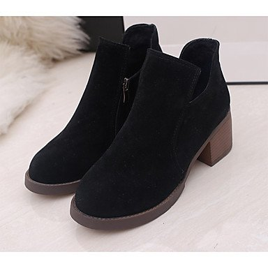 Rtry Femmes Chaussures Pu Printemps Automne Hiver Confort Bottes De Combat Bottes Talon Plat Bout Rond Pour Casual Brun Foncé Noir Gris Us7.5 / Eu38 / Uk5.5 / Cn38