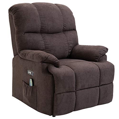 HOMCOM Massagesessel Aufstehhilfe Relaxsessel mit Wärmefunktion Fernbedienung PU Braun 94 x 96 x 104 cm