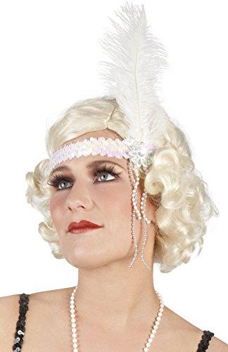 Faschingsfete Damen Haarband mit Pailletten, Feder und Perlen, Weiß
