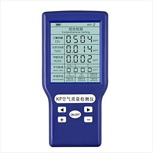 Co2-analyzer (Luftqualitätsmonitor Detektor Indoor Professionelle Kohlendioxid-detektor Co2 TVOC HCHO AQI Monitor Multi Gas Analyzer für Zuhause Auto Außen Erkennen)