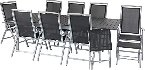 ib style®Polywood Gartengarnitur   Tisch+ 8X Klappstuhl President + 2X Fußbank  pflegeleicht und witterungsbeständig   Tisch: 205-260x100cm - Polywood Klappstuhl
