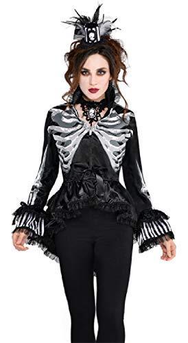 Damen Schwarz Weiß Skelett Gothik Viktorianisch Knochen Halloween Karneval Kostüm Verkleidung Jacke UK 10-14