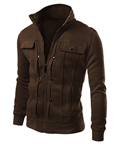 Manches longues pour homme Fermeture Éclair Slim Fit veste, poches avant Marron - Café