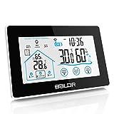 BALDR Wetterstation, digital Thermometer-Hygrometer mit Funk-Außensensor für innen und außen, großes Farbdisplay mit Hintergrundbeleuchtung und Zeitanzeige