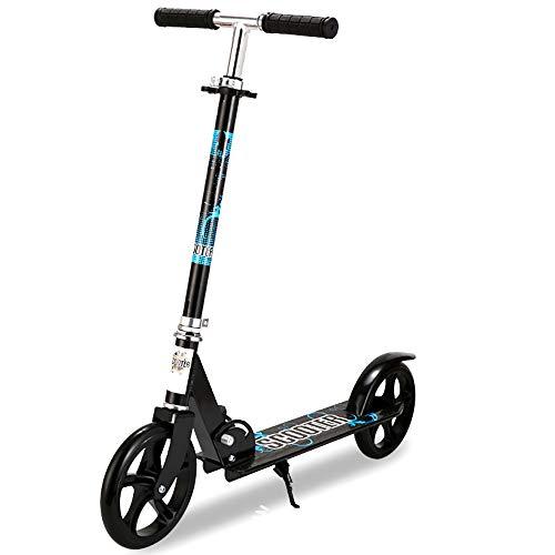Aocean 200mm Wheel City Scooter, City Scooter mit Doppel Federung,City-Roller klappbar und höhenverstellbar,Kickscooter für Erwachsene, Black