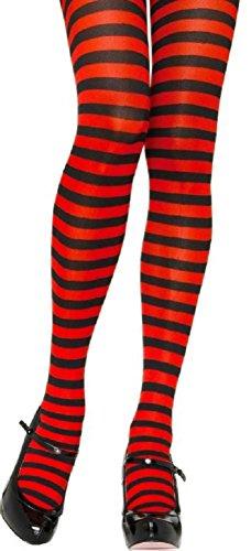 Leg Avenue Damen plus size Strumpfhose quer geringelt schwarz rot Einheitsgröße ca. 42 bis 44