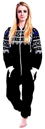 Juicy Trendz Dame Frauen Unisex One Zip Onesie Jumpsuit Playsuit Anzug AZ-BLK L (JT-029)