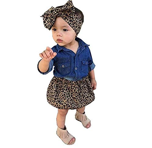 Loalirando completi bambina 3 pezzi camicia jeans bimba + gonna leopardata bmbina + fascia capelli bambina bowknot