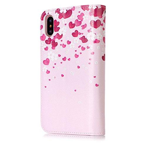 inShang Custodia per iPhone X 5.8 inch con design integrato Portafoglio, iPhoneX 5.8inch case cover con funzione di supporto. + inShang Logo pennino di alta classe Love