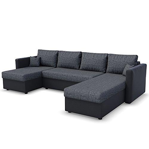 OSKAR XXL Schlafsofa in Grau Schwarz – Stellmaß: 290 x 185 cm – Liegefläche: 270 x 140 cm -Sofa Couch Eckcouch Polsterecke Ecksofa Schlafcouch