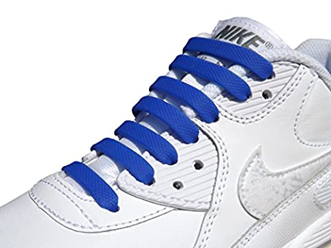 Elastic Silicone No Tie Anchor Shoe Laces PK of 16pcs For Adults Shoes, Trainers (blue)