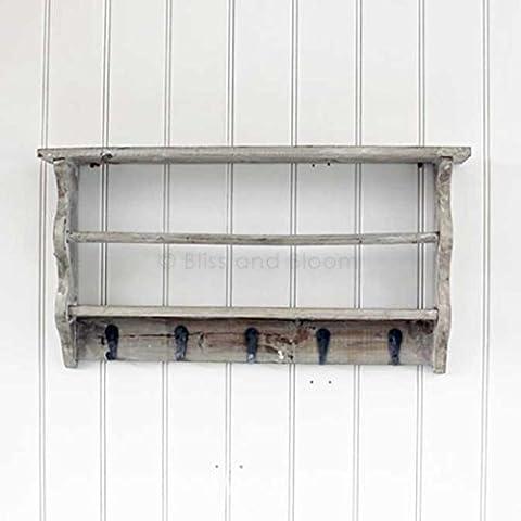Grey Washed Wall Shelf With Hooks and Towel Rail Bathrom Wall Unit or Kitchen Shelf Unit
