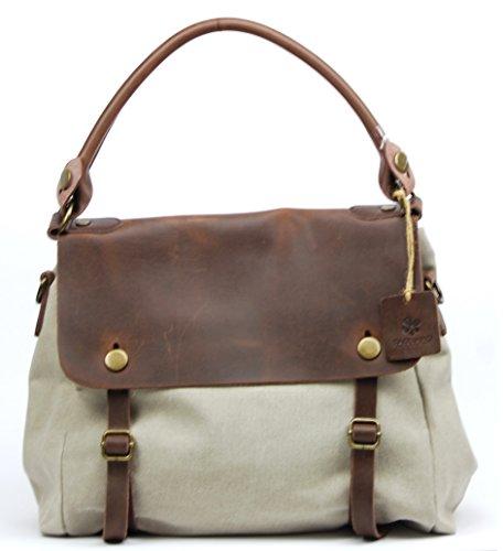 OH MY BAG Sac à main femme en CUIR et TOILE porté main, épaule et bandoulière Modèle BAHAMAS Nouvelle Collection SABLE