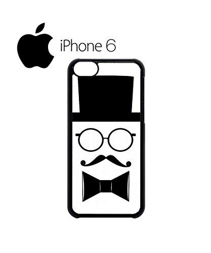 Moustache and Hat Face with Bow Tie Swag Mobile Phone Case Back Cover Hülle Weiß Schwarz for iPhone 6 White Weiß