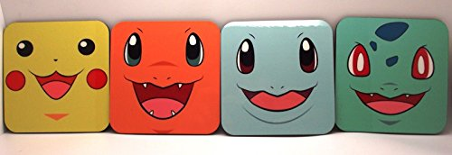 pokemon-pikachu-more-set-of-4-wood-coasters-mugs-cups-geeky-gamer-retro