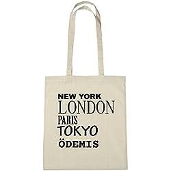 JOllify ÖDEMIS Umwelttasche Jutetasche B3138jute - Farbe: natur: New York, London, Paris, Tokyo