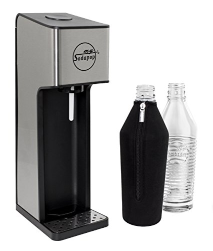 mySodapop Sharon Glaskaraffen Wassersprudler inkl. 2 Glasflaschen, 1 CO2-Zylinder und 1 Bottle-Shirt; Farbe: stahl/anthrazit