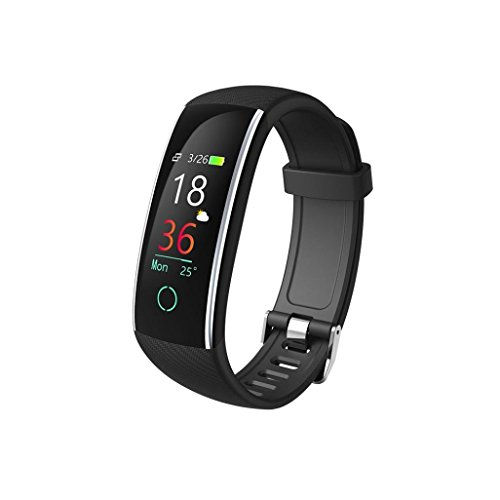Prevently Bltooth Smartwatch, 2018 Uhr Intelligente Armbanduhr Fitness Tracker Armband Sport Uhr Color Screen Blutdruck Übung Herzfrequenz Schrittzähler (Schwarz)